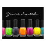 "Colorful Polish Bottles, Nail Salon Manicure Party 4.25"" X 5.5"" Invitation Card"