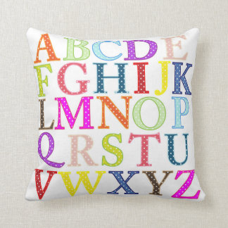 Colorful Polka Dot Alphabet Letters Throw Pillow