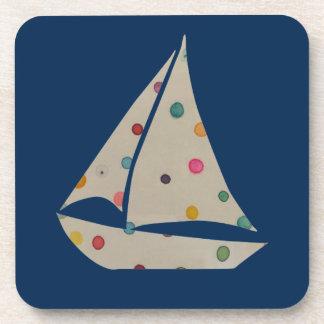 Colorful Polka Dot Boat Unique Modern Design Coaster