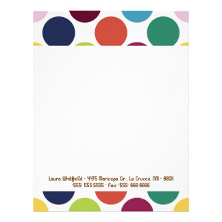 Colorful Polka Dot Bubble Letterhead Stationery