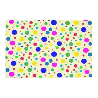 Colorful Polka Dot Bubbles Laminated Placemat