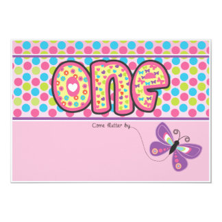 Colorful Polka Dot, Butterfly First Birthday Card