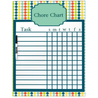 Colorful Polka Dot Chore Chart Dry Erase Board