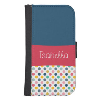 Colorful Polka Dot Customizable Pattern Wallet Phone Case For Samsung Galaxy S4