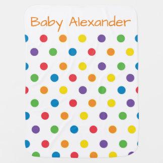 Colorful Polka Dot Gender Neutral Swaddle Blanket