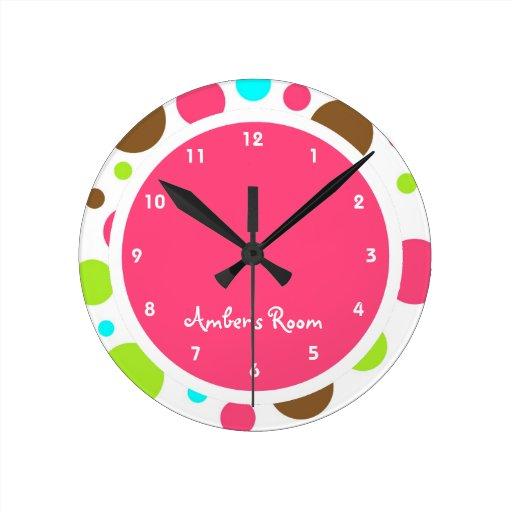 Colorful Polka Dot Kid's Bedroom Wall Clocks