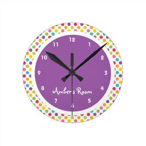 Colorful Polka Dot Kid's Bedroom Round Wall Clocks