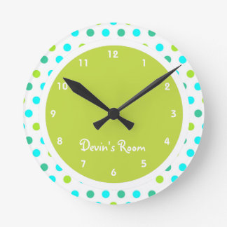 Colorful Polka Dot Kid's Bedroom Round Wall Clock