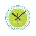 Colorful Polka Dot Kid's Bedroom Round Wall Clock