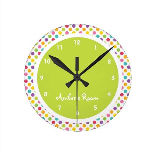 Colorful Polka Dot Kid 39 S Bedroom Round Wall Clocks Zazzle