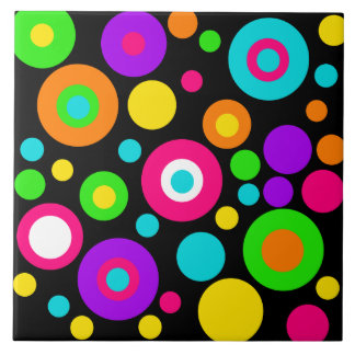 Colorful Polka Dot Pattern Large Square Tile