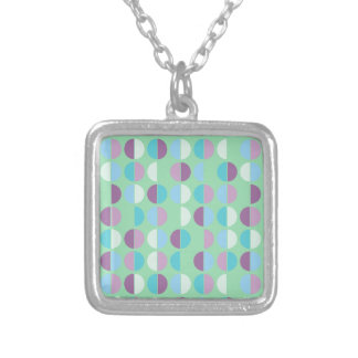 Colorful Polka Dot Seamless Pattern Square Pendant Necklace