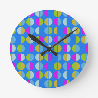 Colorful Polka Dot Seamless Pattern Round Clock
