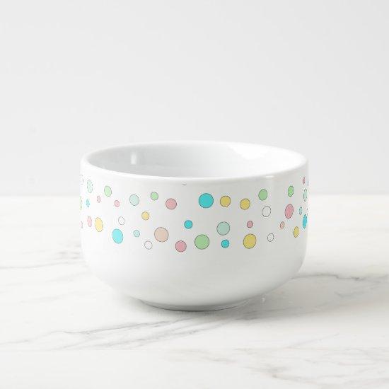 Colorful Polka Dot Whimsical Modern Winter Holiday Soup Mug