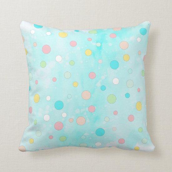 Colorful Polka Dot Whimsical Modern Winter Holiday Throw Pillow