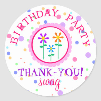 Colorful Polka Dots and Flowers-Birthday Round Stickers