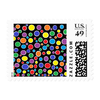 Colorful Polka Dots Black Postage Stamps
