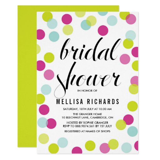 Colorful Polka Dots Bridal Shower Invitation