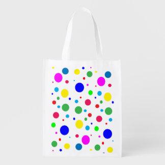 Colorful Polka Dots Bubbles Balloons Reusable Grocery Bag