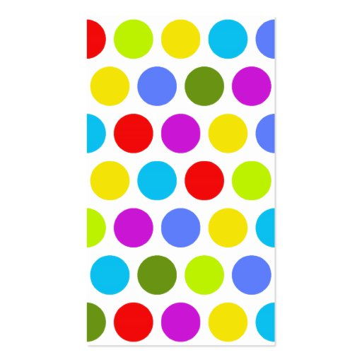 Colorful polka dots double sided standard business cards for Polka dot business card templates free