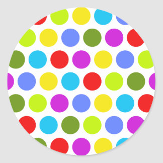 Colorful Polka Dots Classic Round Sticker