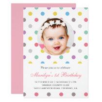 Colorful Polka Dots First Birthday Invitation