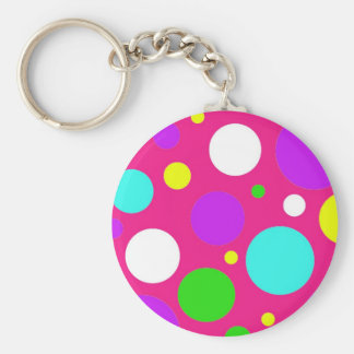 Colorful Polka Dots for Girls Pink Purple Teal Key Chains
