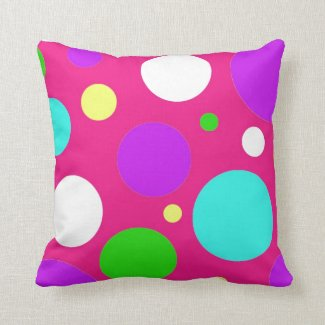 Colorful Polka Dots for Girls Pink Purple Teal Pillows
