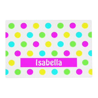 Colorful Polka Dots - Girly Name Placemat Laminated Place Mat
