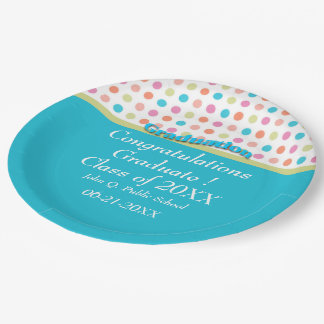 Colorful Polka Dots Graduation Paper Party Plates 9 Inch Paper Plate