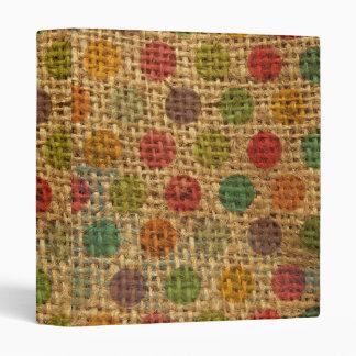 Colorful Polka Dots Grunge Fabric Burlap Texture Binders