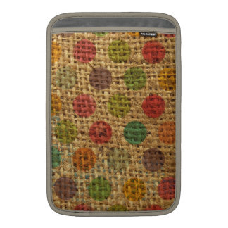 Colorful Polka Dots Grunge Fabric Burlap Texture MacBook Sleeves