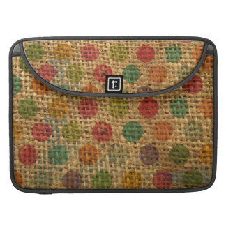 Colorful Polka Dots Grunge Fabric Burlap Texture MacBook Pro Sleeves