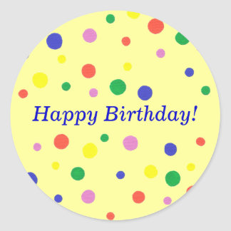 Colorful Polka Dots Happy Birthday Stickers