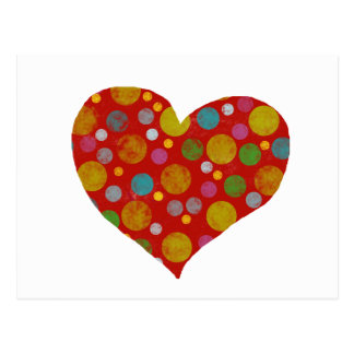 colorful polka dots - heart postcard