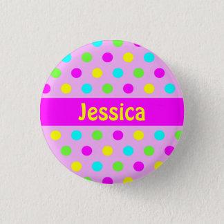 Colorful Polka Dots - Kids Name Button