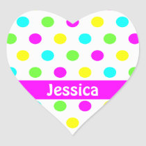 Colorful Polka Dots - Name Heart Sticker