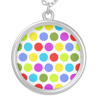 Colorful Polka Dots Round Pendant Necklace