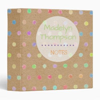 Colorful Polka Dots On Faux Kraft Paper Background Binder