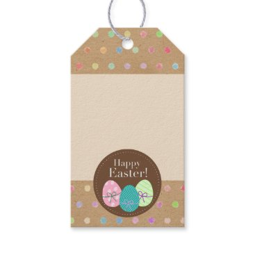 Colorful Polka Dots On Faux Kraft Paper Background Gift Tags