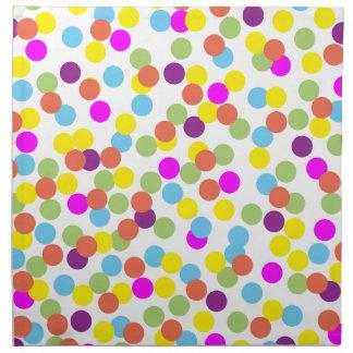 Colorful Polka-Dots on White Cloth Napkins