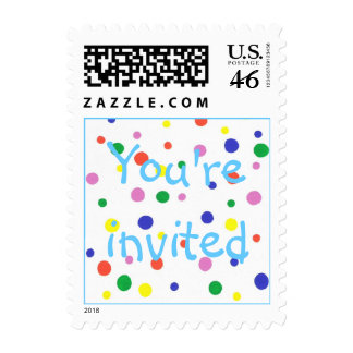 Colorful polka dots party stamps You re invited