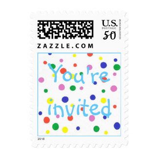 Colorful polka dots party stamps, You're invited Postage