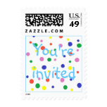 Colorful polka dots party stamps, You're invited Stamps
