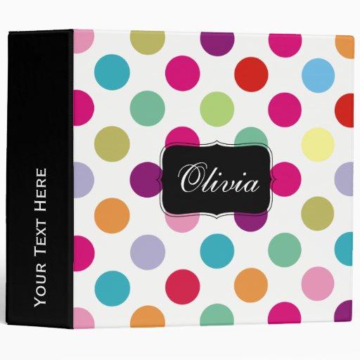 Colorful Polka Dots Pattern Binder
