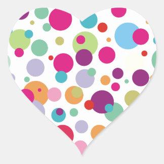 Colorful Polka Dots Pattern Heart Sticker