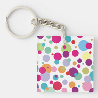 Colorful Polka Dots Pattern Keychain