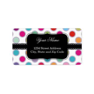 Colorful Polka Dots Pattern Label