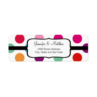 Colorful Polka Dots Pattern Label