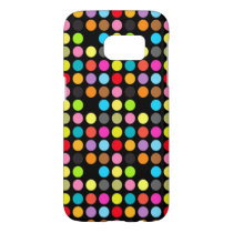 Colorful Polka Dots Pattern on Black Samsung Galaxy S7 Case